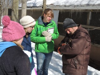 Central Michigan University student, Jaime (white hat) leads a group in animal behavior studies.  Her work was later published by the International Wildlife Rehabilitation Council.
